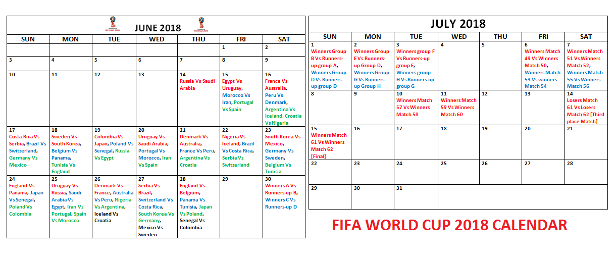 2018 FIFA World Cup Printable Calendar