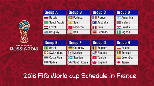 2018 Fifa World cup Schedule in France