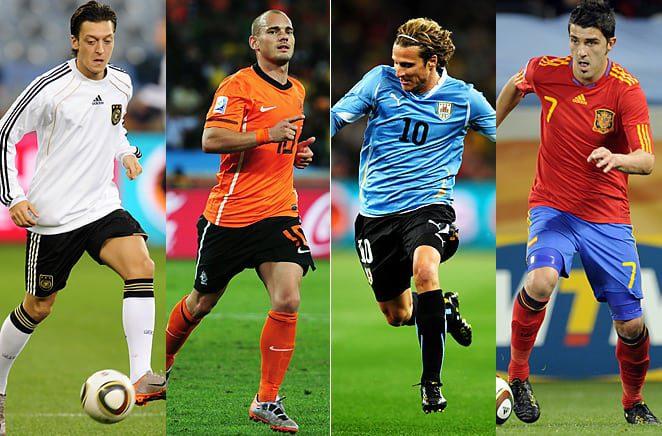 Diego Forlan,Thomas Muller, Wesley Sneijder,David Villa