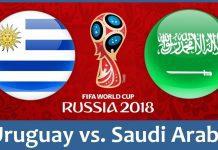 Uruguay vs Saudi Arabia FIFA World Cup 2018 Match Prediction