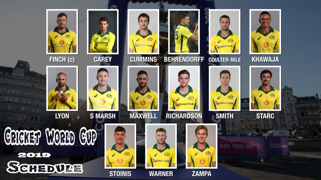 15 menbers squad of Team Australia