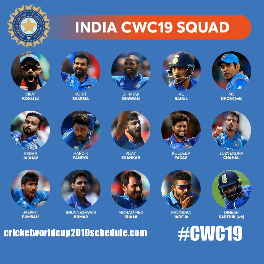 India Cricket Team Confirm 15 Member Squad
