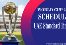 Cricket World Cup 2019 Schedule in UAE Time