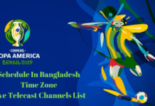 Copa America 2019 Schedule IN BD Time Zone